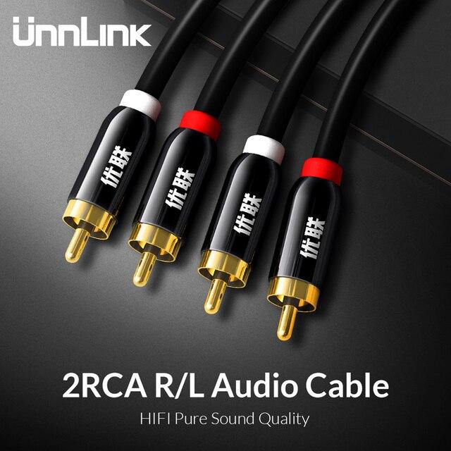 Cabo de áudio unnlink hifi 2rca, para 2 rca, ofc, av, 1m, 2m, 3m, 5m 8m 10m para tv dvd amplificador, subwoofer, fio do alto falante da barra de som