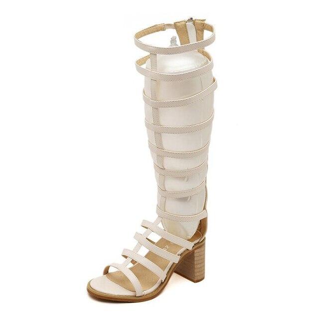 Sexy di Spessore con i tacchi alti stivali Alti Al Ginocchio sandali  gladiatore delle donne breve 80b060ceb92