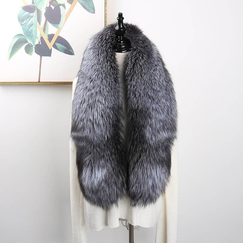 Luxury Genuine Fox Fur Scarf Real Fox Skin Scarf Big Size Natural Fox Fur Shawl Winter