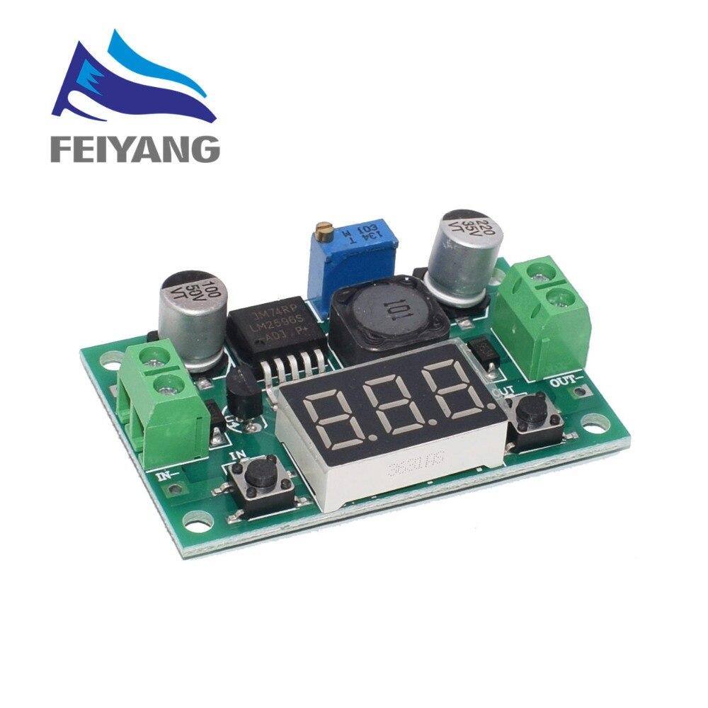 1 pces lm2596 dc 4.0 40 40 a 1.3-37 v ajustável step-down módulo de potência + led voltímetro dc/dc