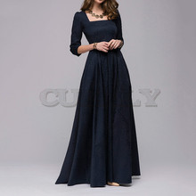CUERLY Women Vintage square collar long dress New Elegant solid color 3/4 sleeve party Casual Spring Summer