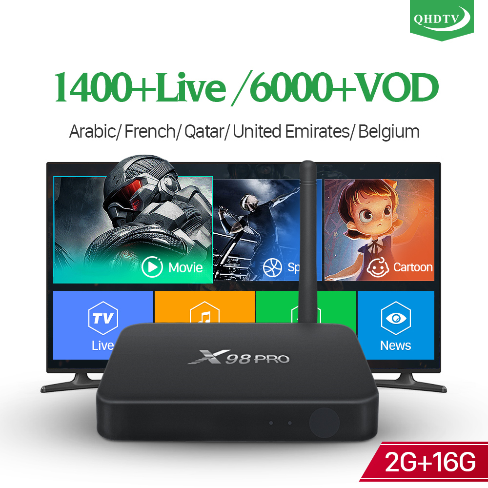 IPTV French Arabic Box Android 2G 16G 4K Dual-Band Wifi X98 Pro with QHDTV IPTV Subscription France Arabic Belgium Dutch IP TV smart 4k x98 pro tv box android 6 0 2g 16g amlogic s912 subtv iptv subscription 8000 vod iptv europe french arabic iptv box