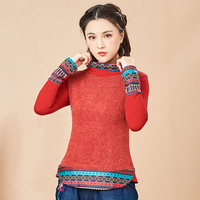 KYQIAO women pullover plus size women clothing girls autumn winter Mexico style long sleeve turtleneck patchwork t shirt tee