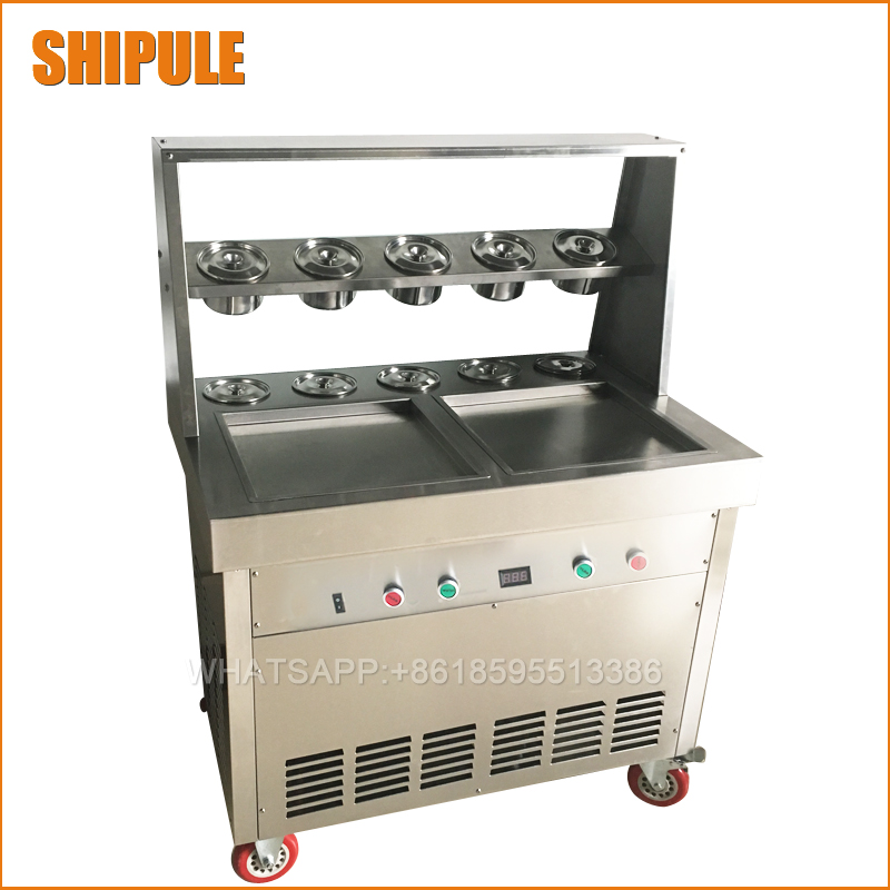 Free ship CE 35*35cm big pan thailand ice roll machine rolled fried ice cream machine double pan soft ice cream machine chinese single round pan rolled ice cream machine fried ice cream roll machine with 6 barrels