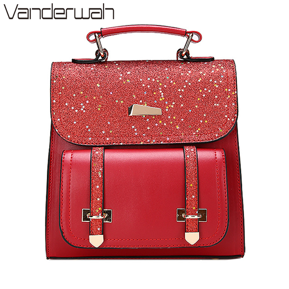 VANDERWAH Sequins Double arrow Women Small Backpack PU Leather Women's Backpack Fashion Backpack Cute School Bags for Girls TOTE hot sale women s backpack the oil wax of cowhide leather backpack women casual gentlewoman small bags genuine leather school bag