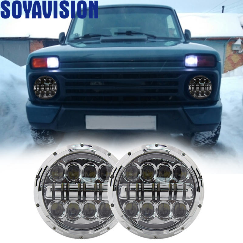 2x Lada 4x4 Urban Niva 80W 7 Round LED Halo Headlights Hi Lo Beam Projector DRL