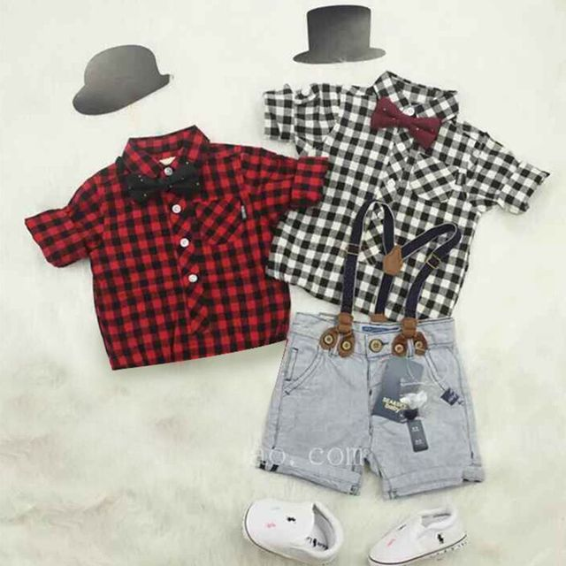 New Gentle Baby Boy T-shirt+Suspender Trousers Overall Suits for Little Boys Summer Clothing Sets Children Kids Clothes