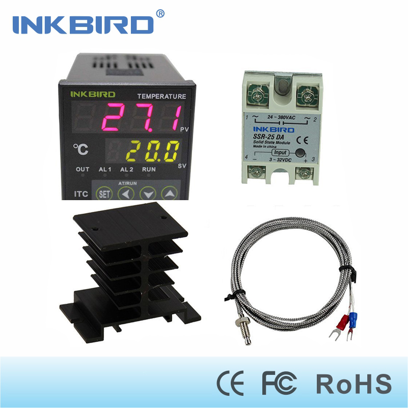 Inkbird AC 100 - 220V ITC-100VH Digital PID Thermostat Temperature Controller, DA 25A SSR, Black Heat Sink, K Thermocouple e5en yr40k 3 digit led digital temperature controller thermostat ac 220v