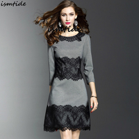 Spring Grey Lace Dress Office Dresses New 2018 Casual Slim Fashion O Neck Sexy Black Lace