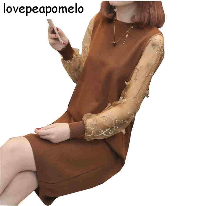 Новинка 2018 года; сезон весна осень; вязаные женские платья в Корейском стиле с круглым вырезом, длинными рукавами, кружевом и прострочкой; D232