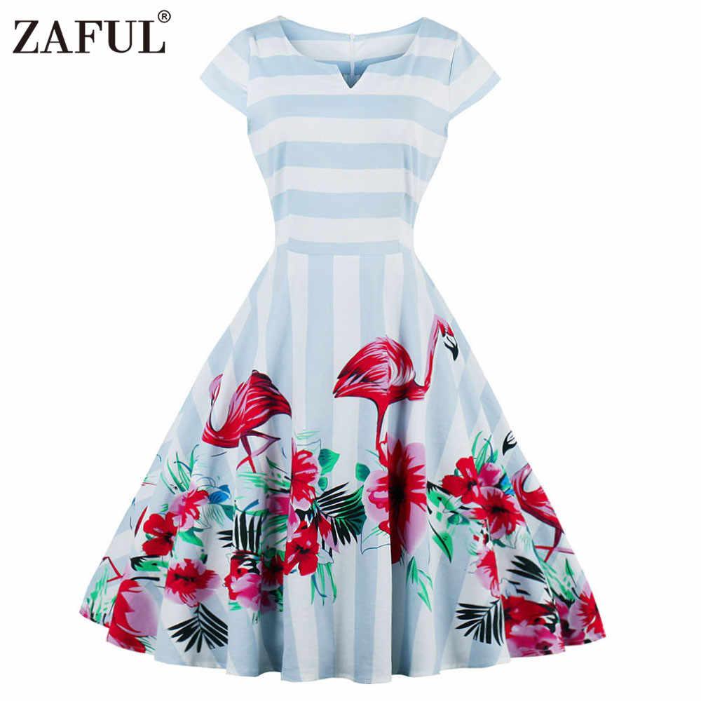 84ba28f5cb95 ... Wipalo Women Vintage Dress Floral Flamingo Print Summer Pin Up Dresses  A-Line Light Blue ...