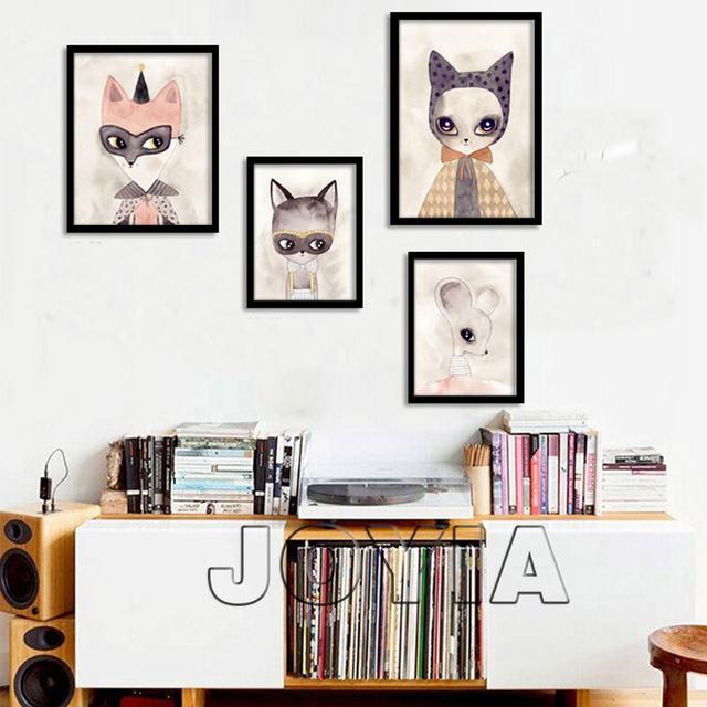 Nursery Art Prints Animal Canvas Posters Cute Miss Rat Watercolor Wall Pictures Modern Artwork For