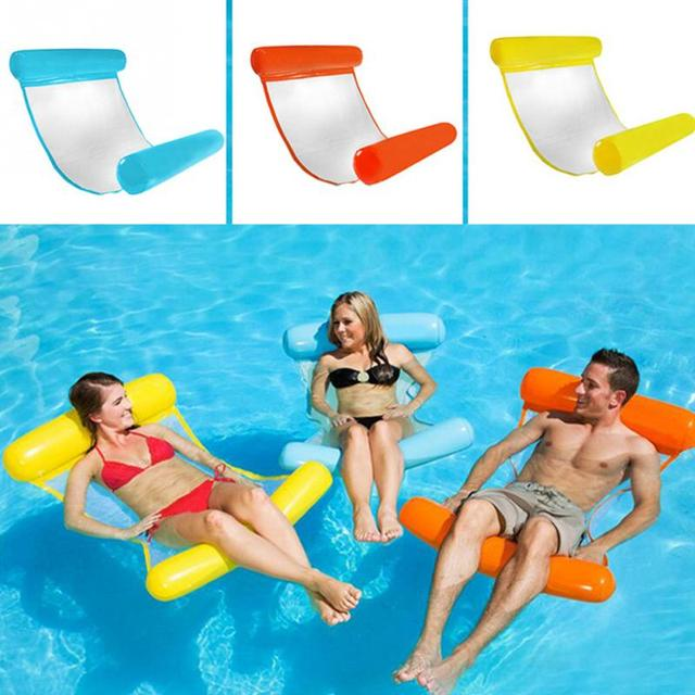 Swimming Accessories Pvc Floating Water Hammock Float Lounger Inflatable Floating Bed Beach Swimming Pool Lounge Float Bed Chair Swimming Rings
