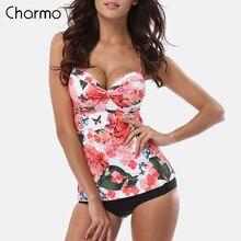 Charmo Women Tankini Set Two Piece Swimsuits Retro Floral Print Swimwear Padded Push Up Bikini Bathing Suit Beach Wear