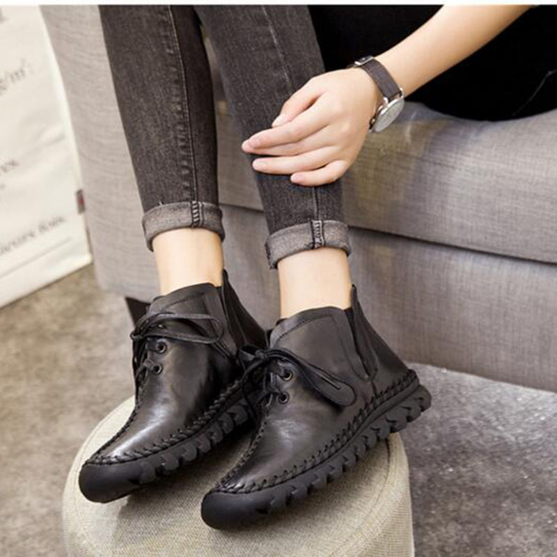 YEERFA women boots 2017 New Leather Winter Boots Handmade lace-up Woman Shoes Casual Full Grain Leather Ankle Boots For Women