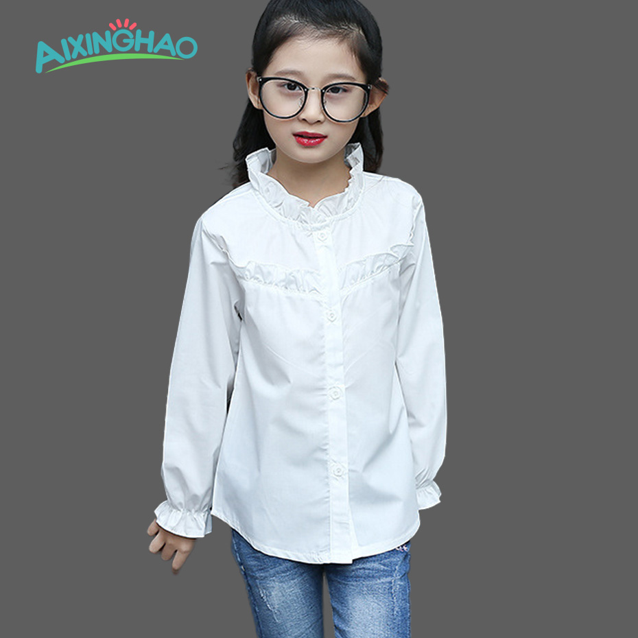 Aixinghao Big Girls White Blouse Cotton School Girl Blouse For Girls Shirts Teenage Kids Clothes School