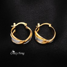 Free Shipping Fashion Yellow  Gold-color Hoop Earrings Party Engagement Round Style Nickel Free Jewelry for Women Wholesale