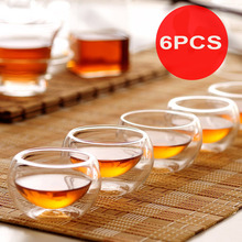 6Pcs/Set Double Layers Wall Glass Tea Cup Mini 50ml Drinking Kung Fu Teacup Heat Resistant Cups Tools saucers