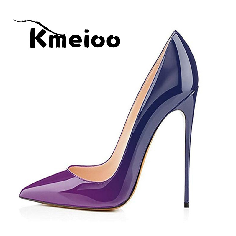 Kmeioo Women Pumps 2018 Gradient Color Pointed Toe High Heels Ladies Shoes Basic Evening Office Stilettos huf monogram crew sock navy