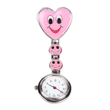 Clip Watch Medical Nurse Use Spherical Quartz watch Timepiece with Coronary heart Form Cute Smile Face Transportable Pocket Watch