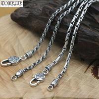 NEW 100% 925 Silver Tibetan Six Words Necklace Sterling Buddhist OM Vajra Necklace Real Pure Silver Tibetan Dorje Necklace