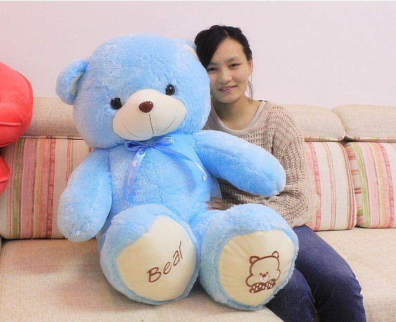 The lovely bow bear doll teddy bear hug bear plush toy doll birthday gift blue bear about 120cm
