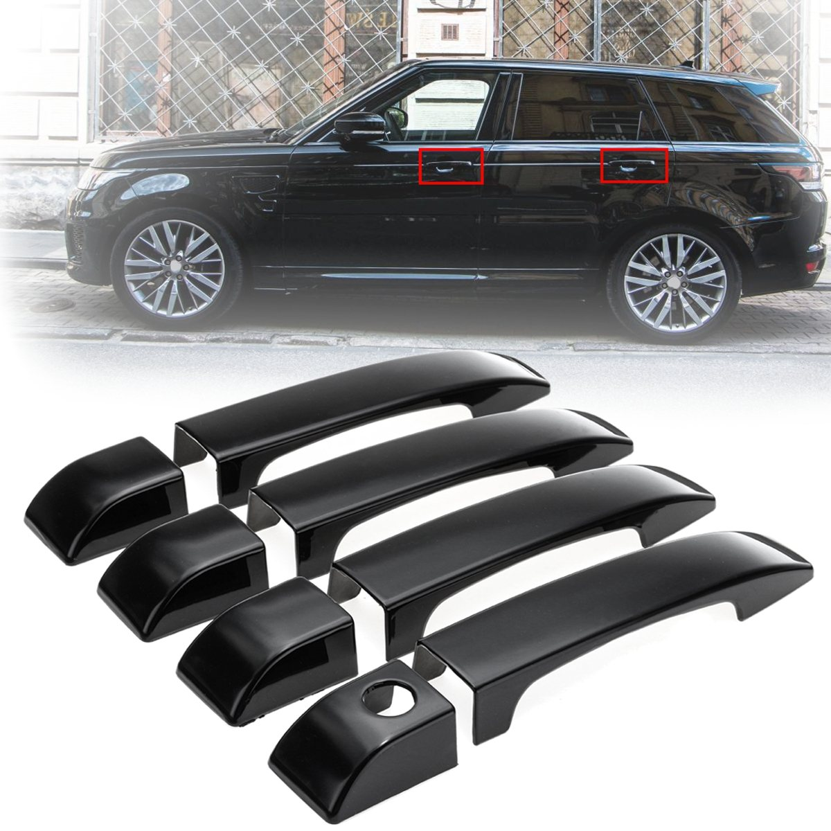 8pcs Gloss Black Door Handle Covers Trim For Land Rover Range L322 2002 2003 2004 2005 2006 2007 2008 2009 2010 2011 2012 front right car fog light lr for land rover discovery 2 2003 2004 range rover 2006 2009 range rover sport lr3 2005 2009