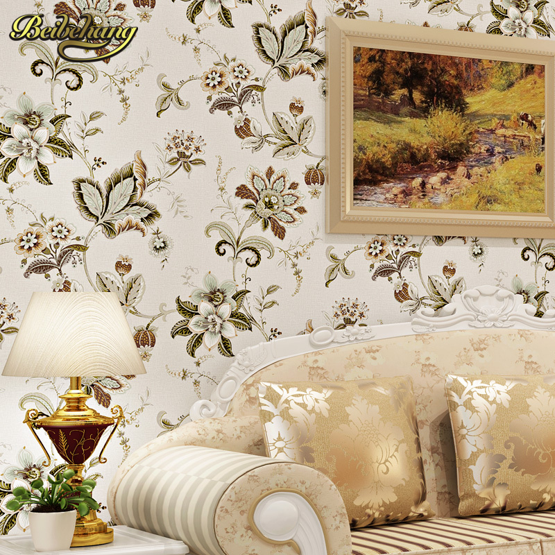 ФОТО beibehang 8.23x0.685m papel de parede 3d wallpaper. Puna American country parts retro style garden flower wallpaper background
