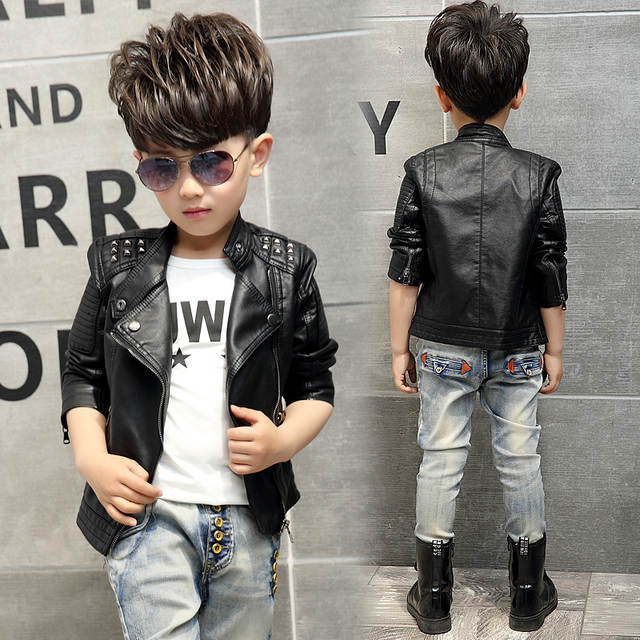 8579ff5f8 Online Shop Teenager Girl Boys Leather Jacket Boys Casual Black ...