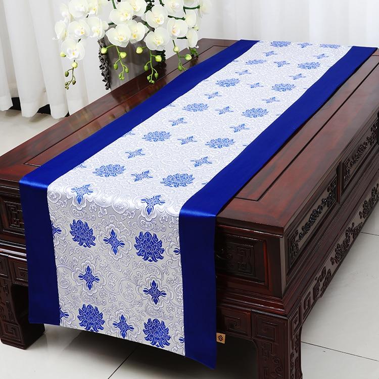 Bredda förlänga kinesiskt silke satäng bordslöpare matbord mat täcka torkduk damast kaffebordsduk löpare lyxig säng löpare