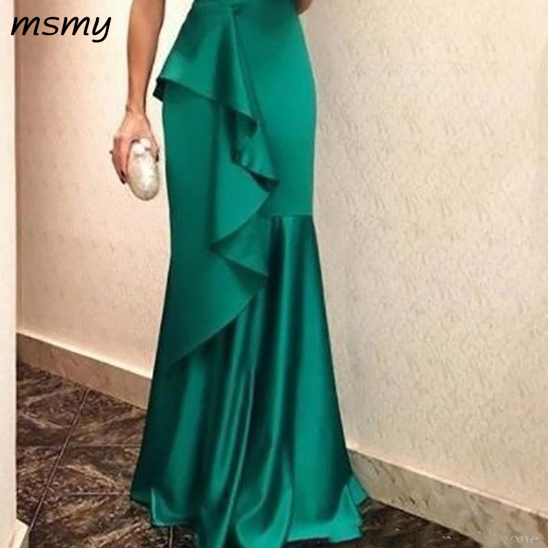 Cheap Green Spaghetti Mermaid Evening Dresses 2019 New Design Ruffles Prom Gowns Floor Length Plus Size Red Carpet Party Wear