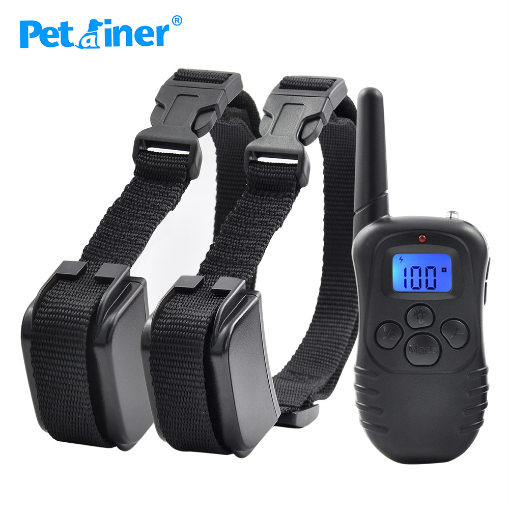 Petrainer 998DR-2 300M Remote Rechargeable And Rainproof Vibration Shock Electronic 100Level Dog Electric Collars For 2 Dogs