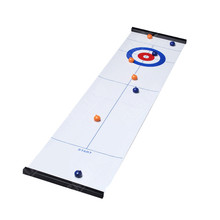 Kualitas TOP Tabletop Curling Permainan-Compact Curling Board Game Mini Table Games untuk Family School Travel Play 28 * 120cm