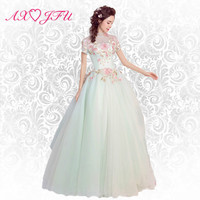 AXJFU Pink lace evening dress Fresh and beautiful dream roses and leaves pale green bride evening dress TB399
