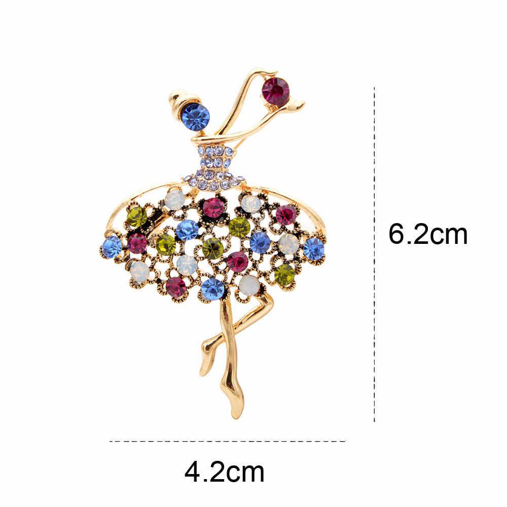 CINDY XIANG strass Vintage fille broches pour les femmes élégant mignon danse dame broches mode bijoux manteau sac à main accessoires