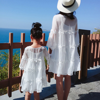 2019 Loose Style Mother Daughter Dresses Family Matching Clothing Summer Women Dress Family Match Outfits White Loose Dresses