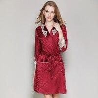 women silk robe set 2017new women 100% silk robes dress brand red sexy lace silk robe & gown set two piece sleepwear + bathing