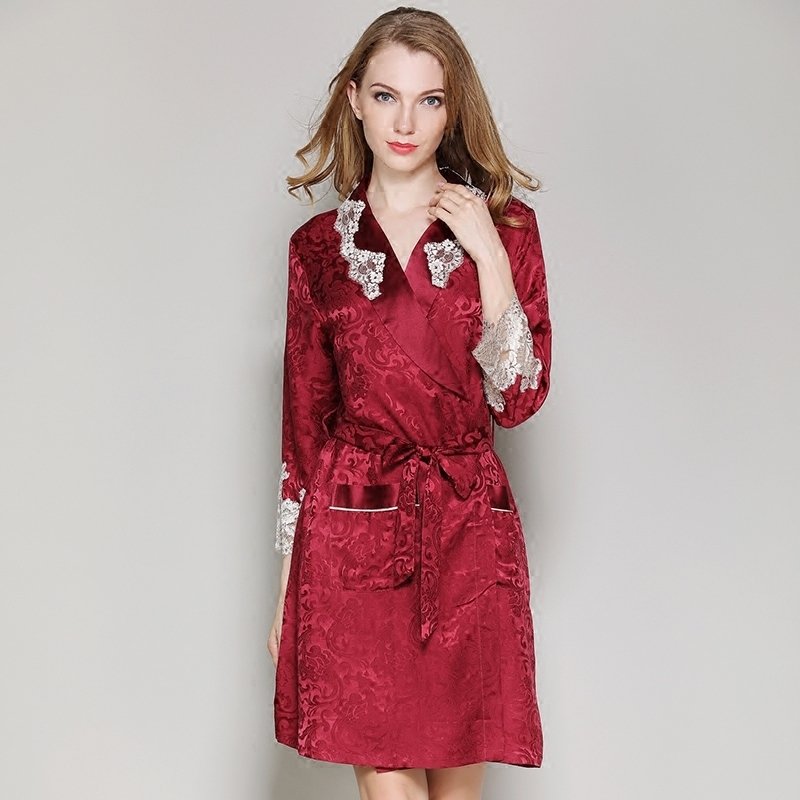 Women Silk Robe Set 2019 New Woman 100% Silk Robes Dress Brand Red Sexy Lace Silk Robe & Gown Set Two Piece Sleepwear + Bathing