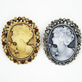 Vintage Classic Trendy Women Brooch Victorian Queen Head Cameo Bouquet Pins Retail Hot Selling
