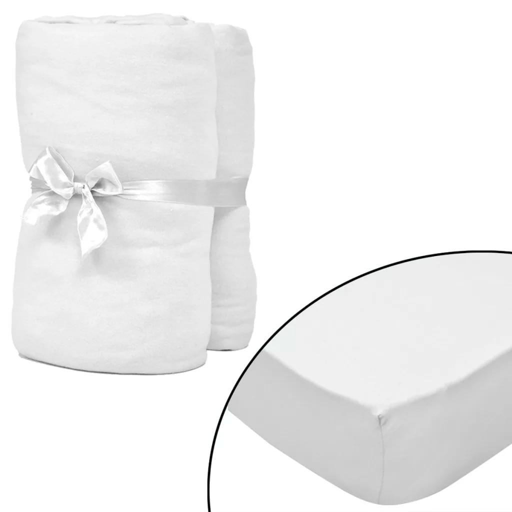 2 pièces blanc drap housse pour matelas coton Jersey couvre lit protège matelas surmatelas pour lit housse de matelas