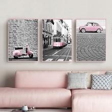 Σκανδιναβία ροζ κορίτσι Σειρά ζωγραφικής καμβά Ασπρόμαυρες εικόνες Αυτοκίνητο αμαξοστοιχίας Αφίσα Εκτύπωση διακόσμηση για σαλόνι Home Decor