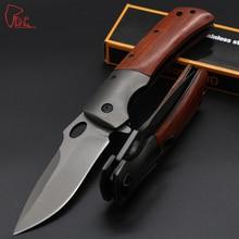 Dcbear High Quality DA62 Folding Knife 440C Steel Best Folding Knives 58HRC 100% Wood Handle Hunting/Camping/Tactical Knife