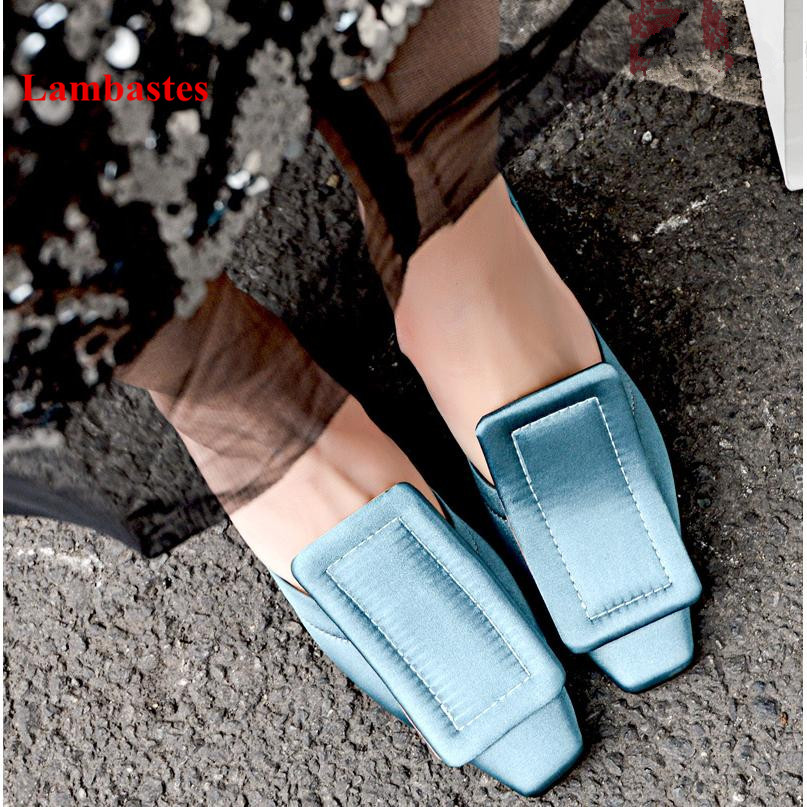 2018 Spring Women Pumps Light Yellow Square Toe Buckle Shallow Women Casual Shoes Slip On Med Heel Women Pumps Fashion Mujer morazora hot fashion 2018 pumps women shoes with buckle square toe med heels square heel shallow dress ladies shoes