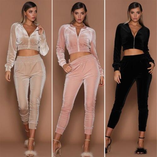 2018 Fashion Women Sweatshirt Pants Sets Velvet Tracksuit Velour Smooth Soft Suit