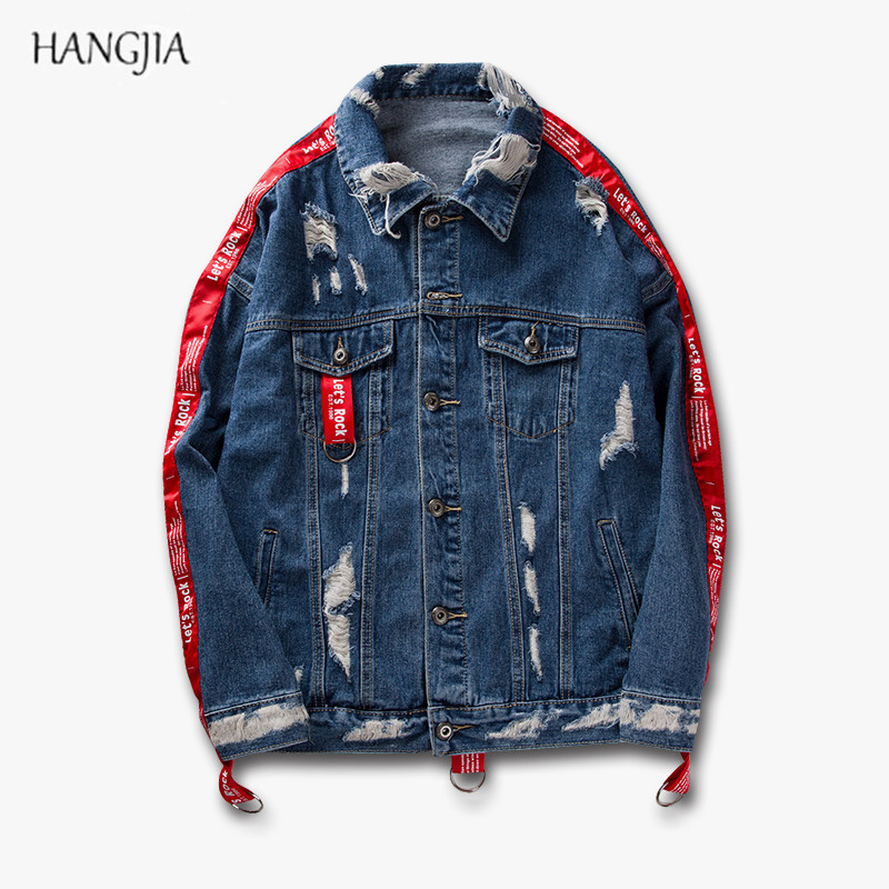 Mens Giacca di Jeans 2018 Kanye West Hip-Hop Harajuku Foro Patch Strappato Nero/Blu Distressed Nastri Giacca di Jeans Degli Uomini Vestiti