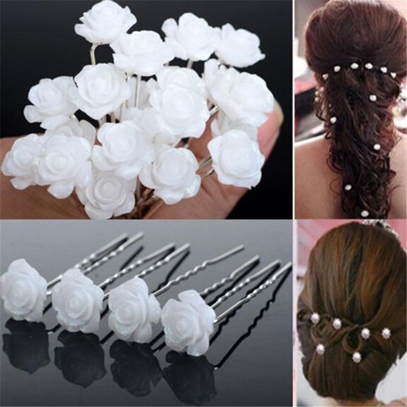100 unids/lote Adornos Para El Pelo Blanco K Glitter Flor Tenedor Accesorios Par