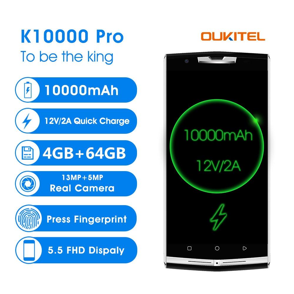 Oukitel K10000 Pro 5.5 FHD 10000 mah Puissance Banque SmartPhone MTK6750 Octa Core 4 gb RAM 64 gb 13MP d'empreintes digitales 4g LTE Mobile Téléphone