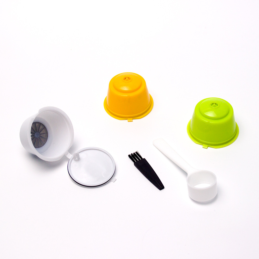 3pcs Coffee Capsule With Plastic Spoon Brush Refillable Coffee Capsule Reusable Compatible For Coffee Machines