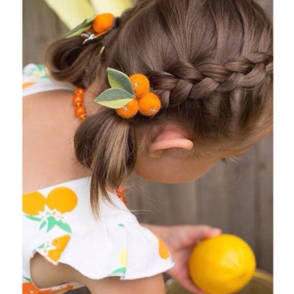 2019 Children's Headdress Spring New Ins Auspicious Small Orange Ball Wool Felt Beautiful Clip Girl And Woman Hair Clip