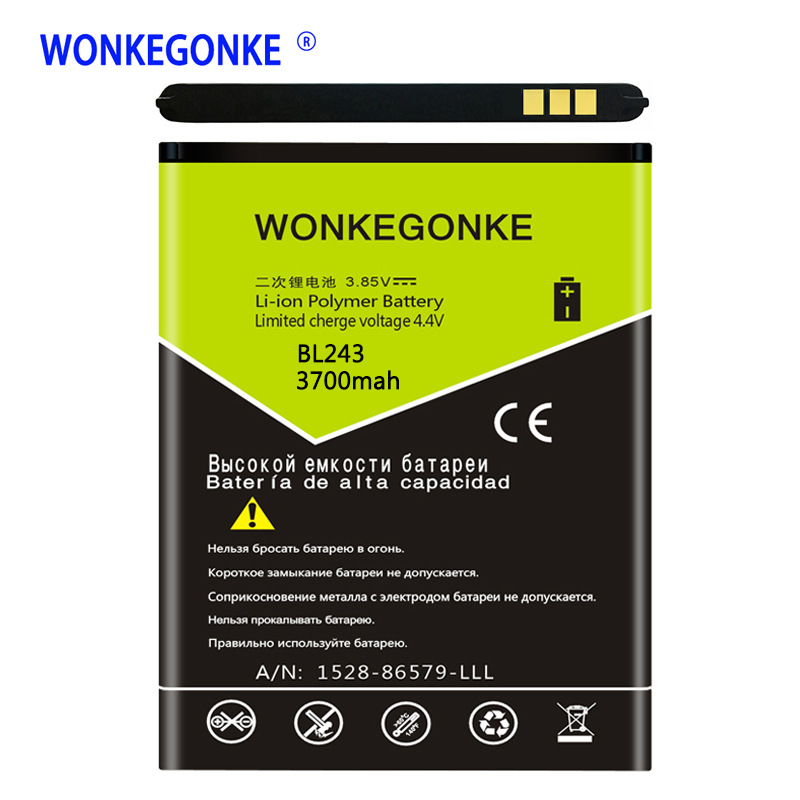 WONKEGONKE BL243 <font><b>Battery</b></font> For <font><b>Lenovo</b></font> Lemon <font><b>K3</b></font> <font><b>Note</b></font> <font><b>Battery</b></font> K50-T5 A7000 A5500 A5600 A7600 <font><b>Batteries</b></font> Bateria image